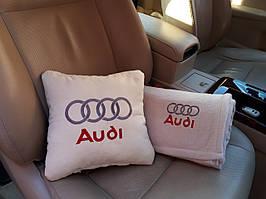 """Набір: Автомобільна подушка + плед з вишивкою логотипу """"Audi"""""""