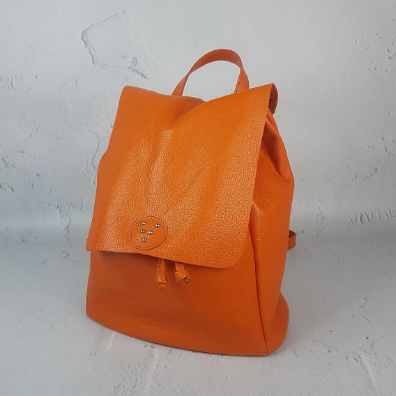 """Рюкзак женский """"Неаполь"""" натуральная кожа, оранжевый флотар"""