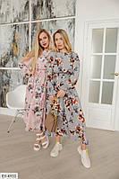 Нежное плотное софтовое приталенное летящее платье с цветочным принтом Размер: 42-44, 46-48 арт: 0328