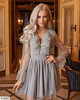 Нарядное красивое женское платье короткое с пышной юбкой из сеточки и трикотажа р: 42, 44, 46, 48 арт: 5184