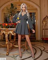 Молодежное трендовое красивое платье короткое пышное со съемным рукавом р: 42, 44, 46, 48 арт: 5186