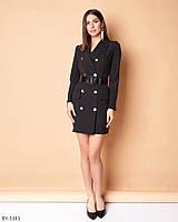 Стильное прямое однотонное платье-пиджак с лаковым ремнем с карманами  р: 42, 44, 46 арт: 5180