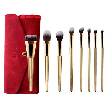 Набор из 8 кистей для макияжа в красном чехле LUXIE Glitter and Gold Brush Set