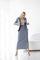 Комплект из рубашки и юбки цвет сизый
