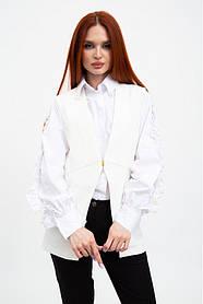 Жилет женский,мода  однотонный, приталенный белый