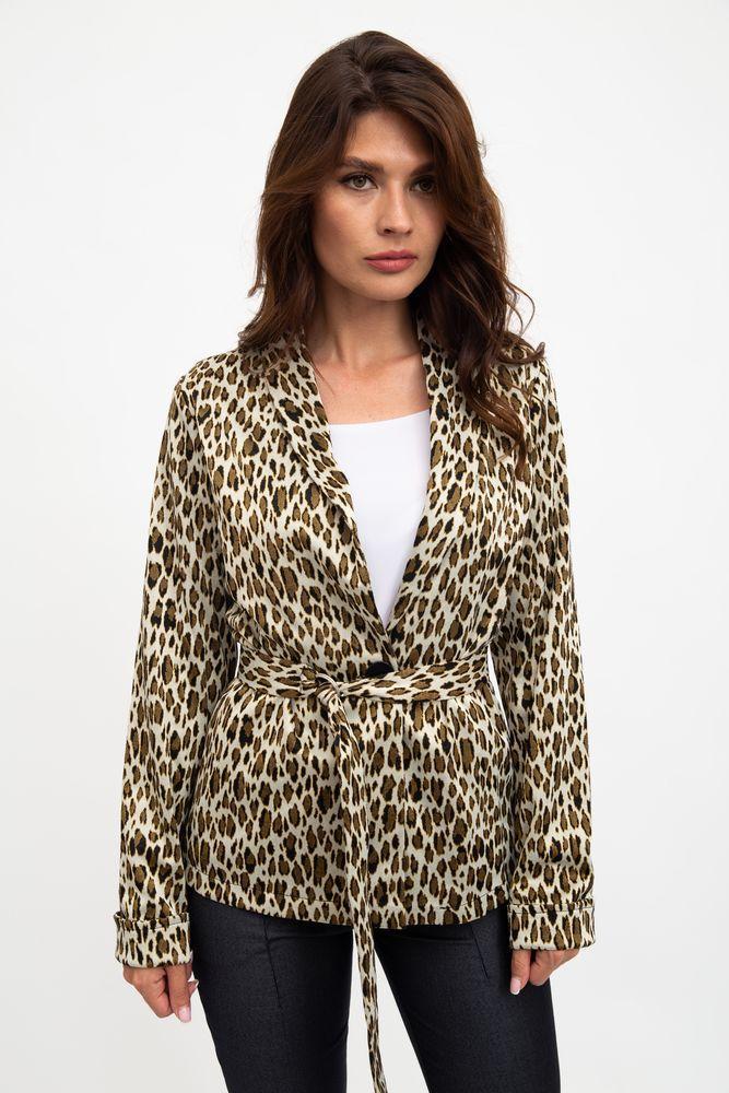 Жакет женский,мода  легкий, леопардовый, бежево-черный