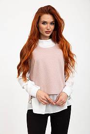 Комплект (двойка) Блуза+жилет  цвет Розово-молочный