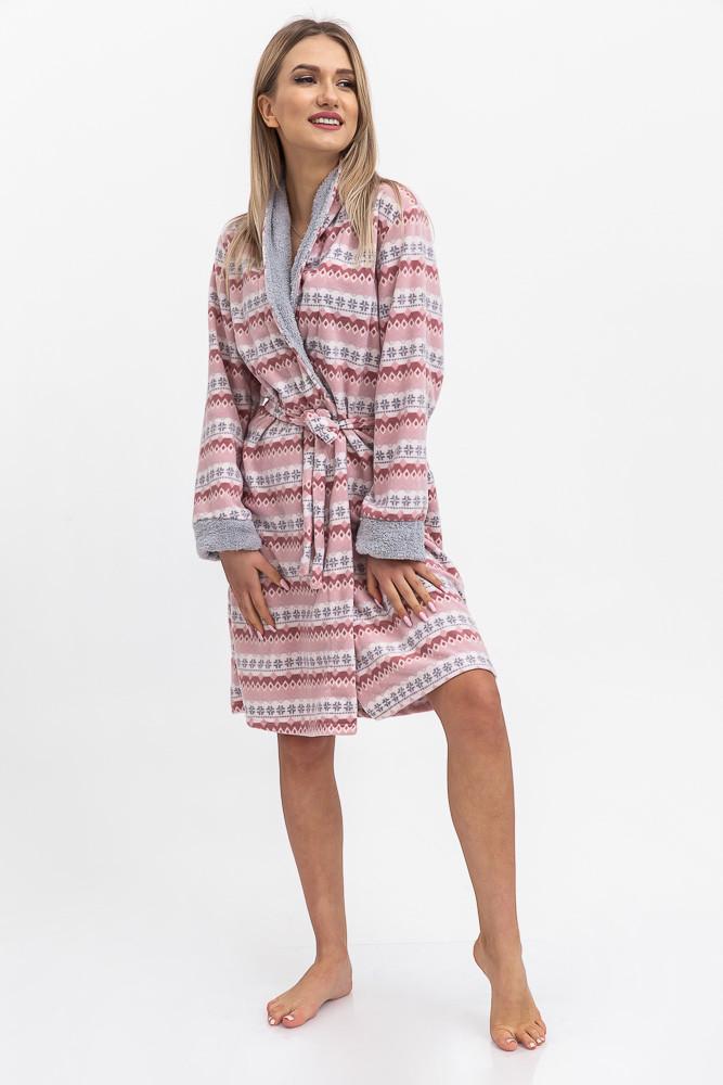 Халат жіночий колір Рожево-сірий Trendy Moda