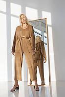 Комплект из кардигана и брюк-кюлотов цвет кемел
