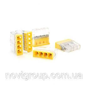 Самозажимна 4-дротова клема WAGO К773-204, 4-pin, прозоро-жовта