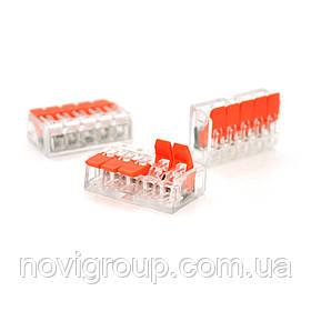 Клема з нажимними затискачами 5-дротова аналог WAGO K221-415 для розподільчих коробок, 5-pin, прозоро-помаранчева