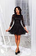Нарядное черное  гипюровое платье с пышной юбкой