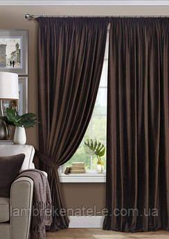 Готовые шторы атласные в зал, в спальню, портьеры коричневого цвета