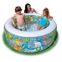 """Детский надувной бассейн """"Аквариум"""" резиновый бассейн для всей семьи Intex 152 x 56 см."""