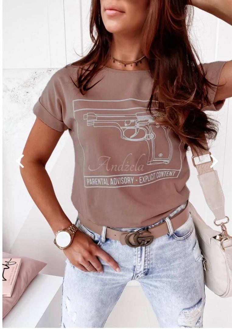 Женская футболка, турецкий хлопок, р-р 42-44; 46-48; 48-50 (бежевый)