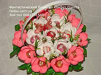 """Конфетный букет с крокусами""""Коралловые стразы""""№17, фото 1"""