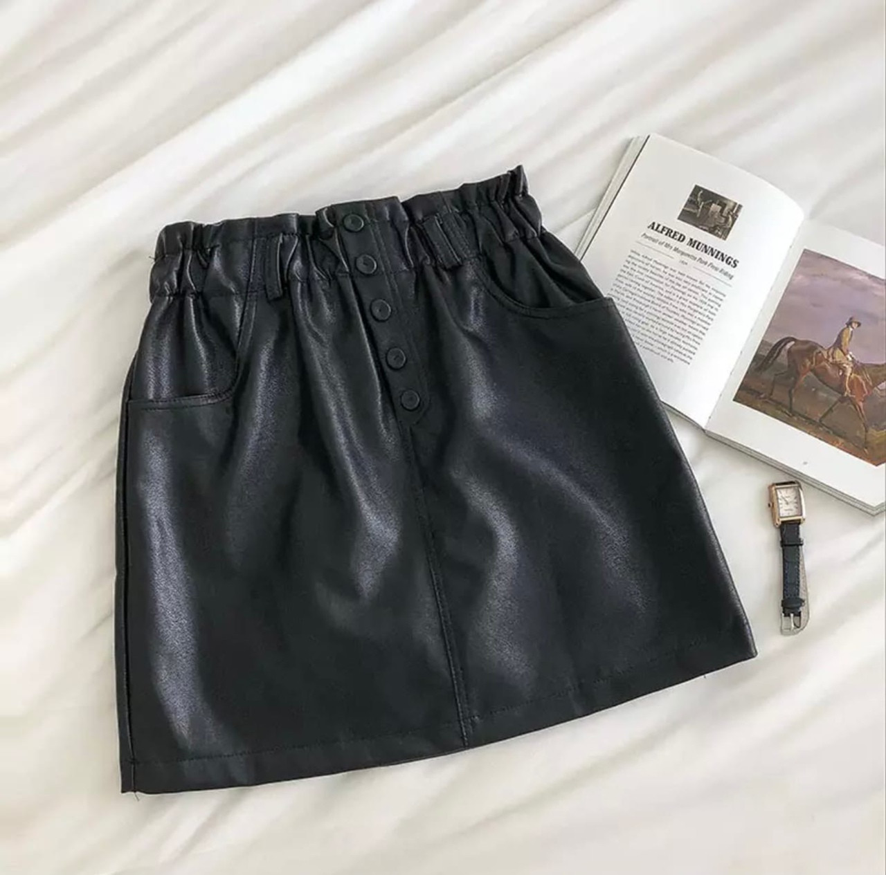 Женская юбка, экокожа, р-р 42-44; 44-46; 46-48 (чёрный)