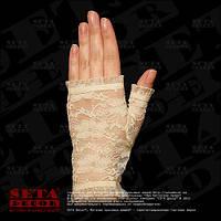 """Бежевые перчатки-митенки """"Розочки"""" короткие, гипюровые"""