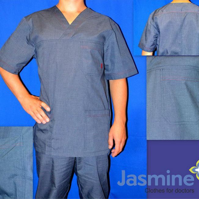 "Медицинский костюм мужской ""Массажист"", синий (джинс) рукав"