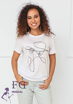 """Женская белая футболка с рисунком """"Lady"""""""