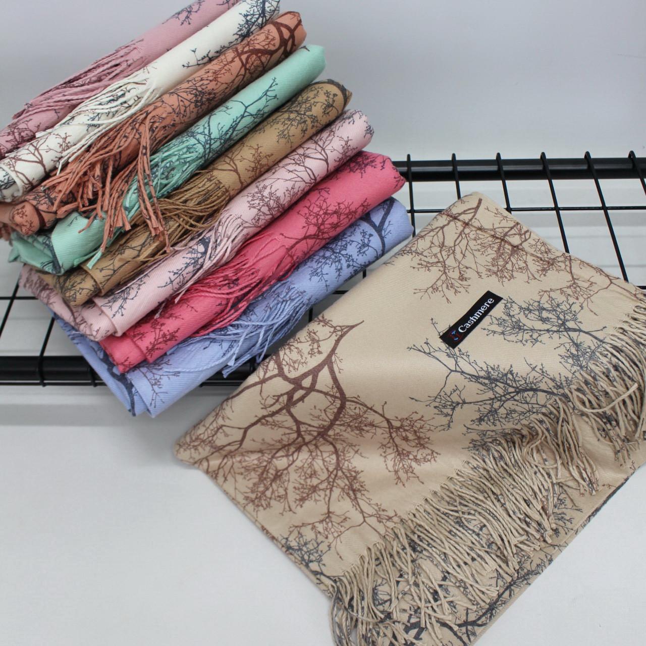 """Кашеміровий двосторонній шарф палантин """"Дерево"""" Cashmere 127001"""
