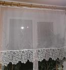 Тюль готовая шифон белая с кружевом 100х150 код КШ-2