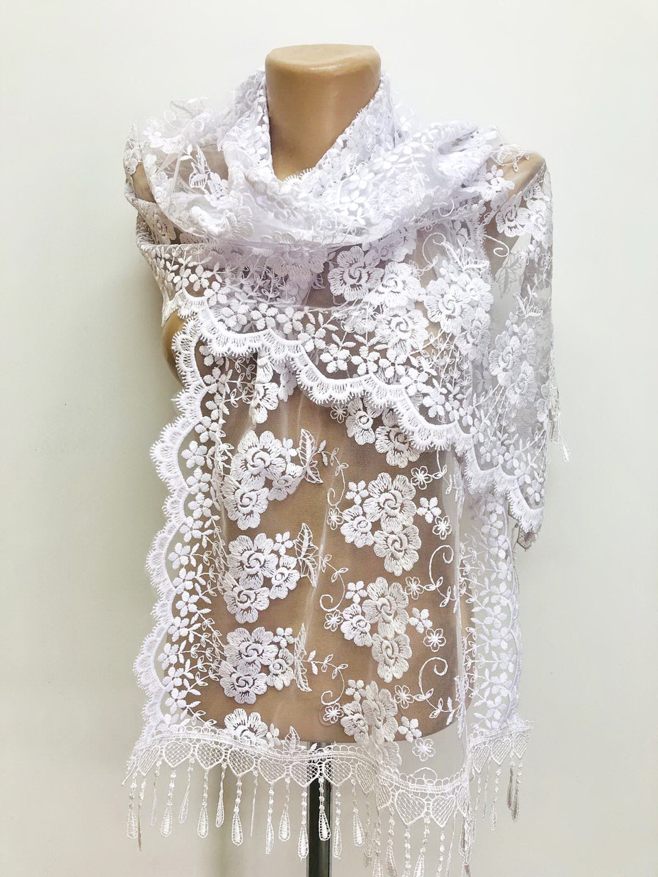 Шарф белый ажурный фатиновый свадебный церковный 150018
