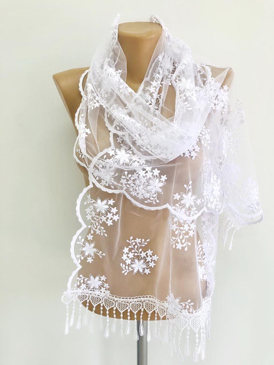 Шарф белый ажурный фатиновый свадебный церковный 150032