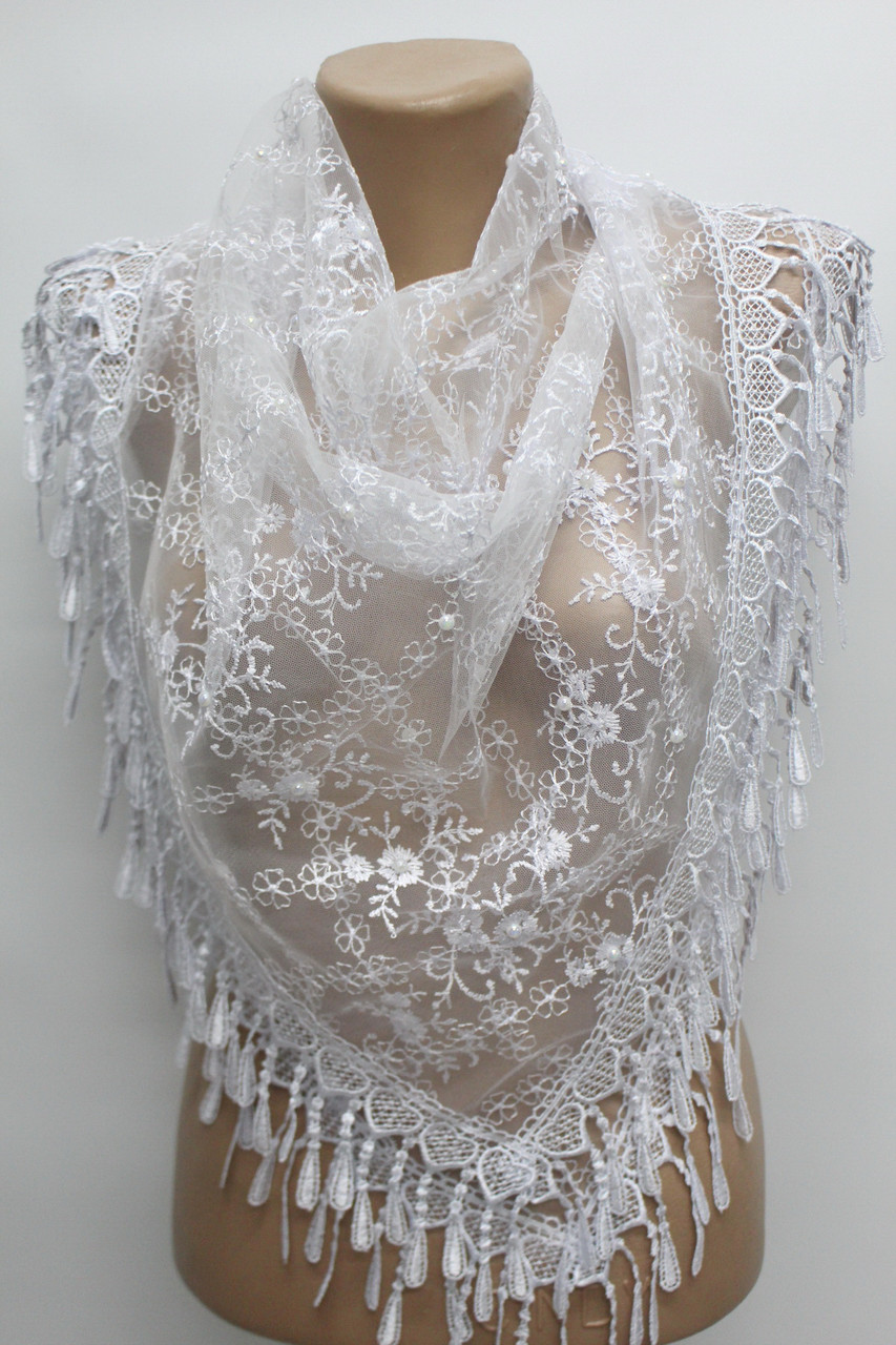 Хустка біла з камінням весільна церковна ажурна 230001