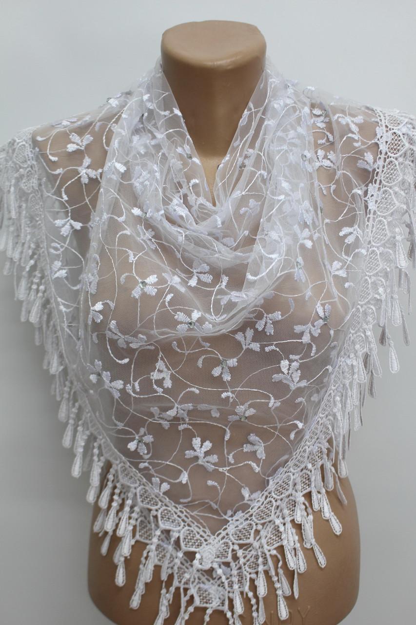 Платок белый с камнями свадебный церковный ажурный 230017
