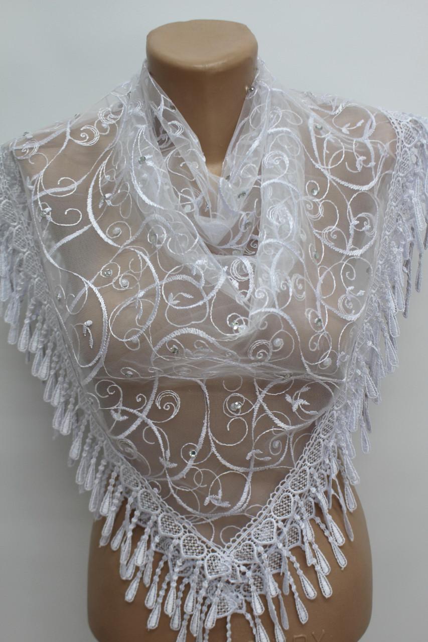 Платок белый с камнями свадебный церковный ажурный 230021