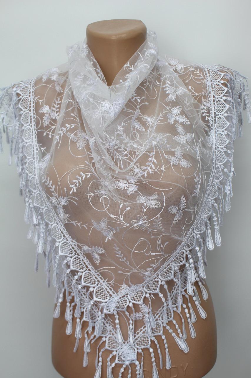 Хустка біла весільна церковна ажурна 232006