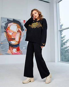 Набор: джемпер «Этно» и брюки (черный, желтый, оранжевый)