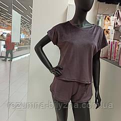 Піжама жіноча футболка та шорти, колір кава м'яка м'який плюш. Туреччина S. М. L