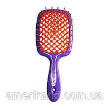 Гребінець для волосся фіолетова з помаранчевим JANEKE Superbrush