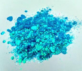 Блестки «Микс» голубые  для слаймов (50516)