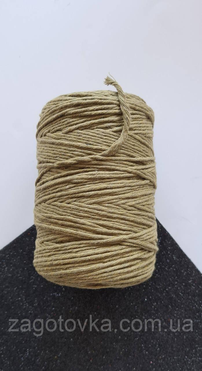 Шнур хлопковый Макраме 2мм Олива