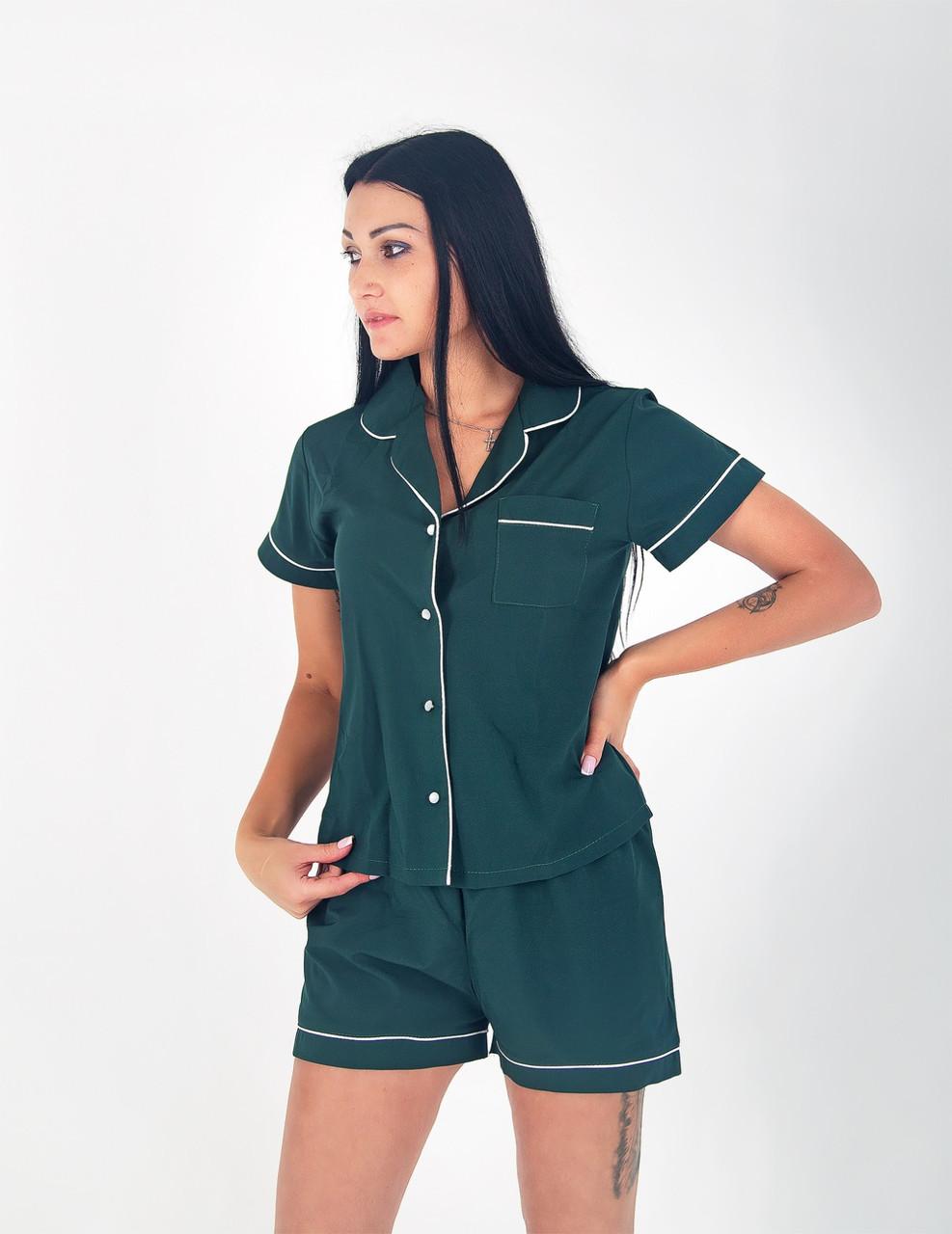 Піжама жіноча сорочка з шортами шовк Армані