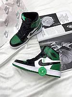 Кроссовки унисекс женские мужские Найк кожаные белые зелёные Nike Air Jordan Retro High Green купить в Украине