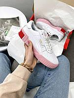 Женские кроссовки Пума белые розовые кожаные Puma Cali White/Pink купить в Украине