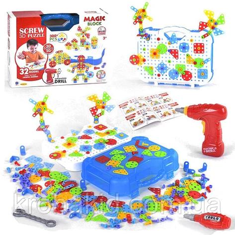 Конструктор-мозаика 3D 661-323 с набором инструментов, 300+ деталей BOHUI, в коробке, фото 2