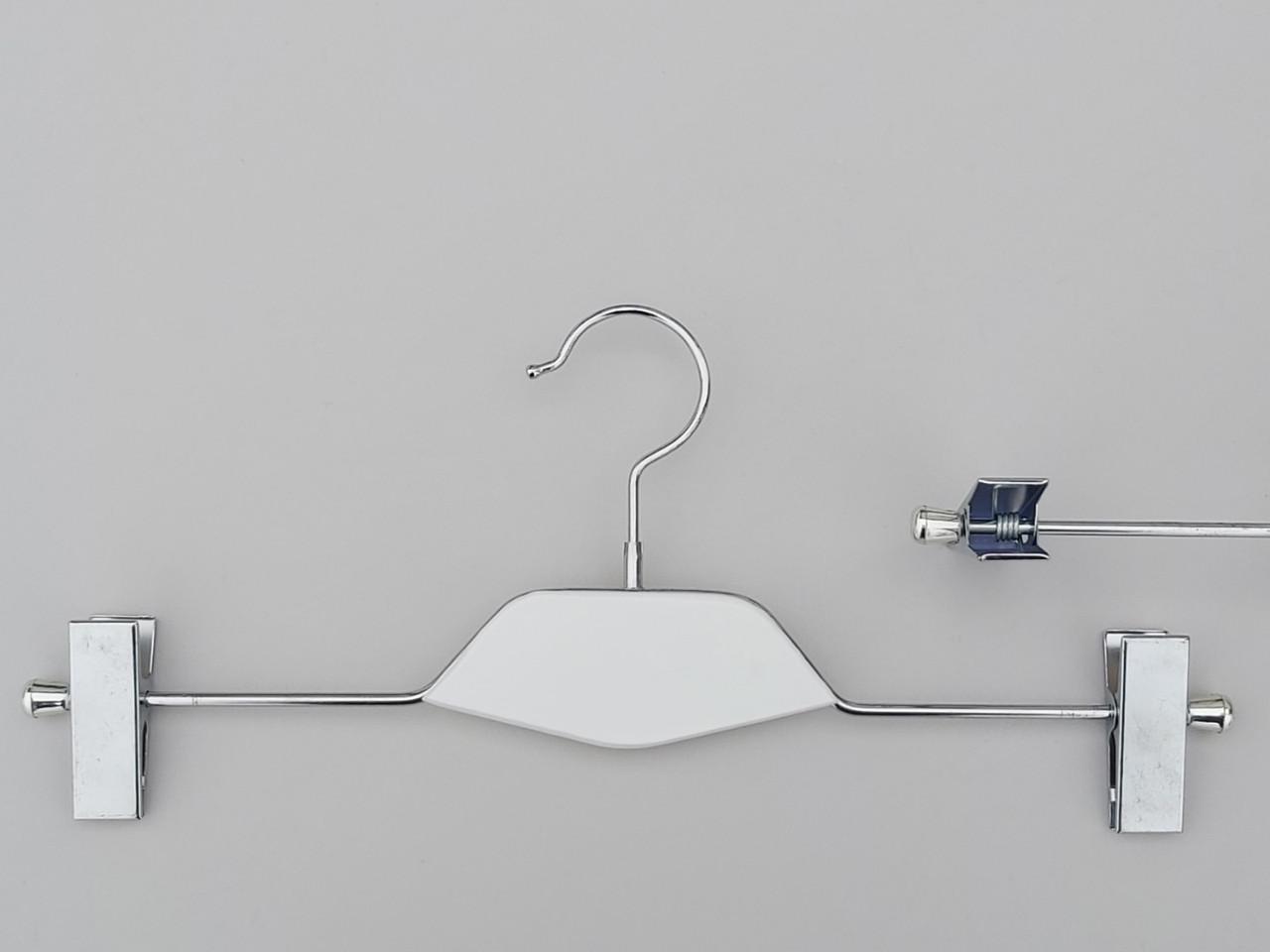 Плічка довжиною 35 см металеві з прищіпками затискачами для брюк та спідниць з вставкою з дерева білого кольору