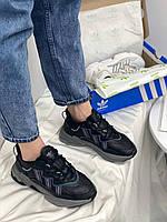 Женские мужские кроссовки Адидас черные кожаные Adidas Yeezy Ozwego Black купить в Украине