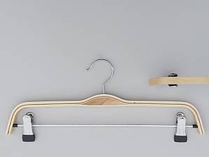 Плечики длиной 37 см вешалки  деревянные с прищепками зажимами для брюк и юбок светлые
