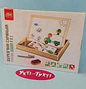 Интерактивная доска деревянная FUN GAME 82146 обучающая двусторонняя с магнитами, в коробке