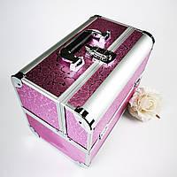 Б'юті-кейс для косметики, манікюру, візажиста (рожевий срібні розлучення)