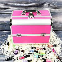 Кейс для косметики, бьюти кейс, кейс для маникюра (розовый матовый)