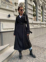 Классический женский демисезонный тренч в черном цвете