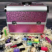 Кейс для косметики, бьюти кейс, кейс для маникюра (розовые цветы)