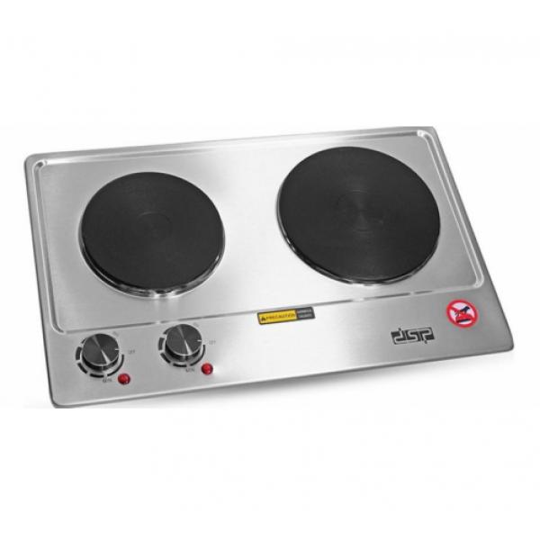 Плита настольная электрическая из нержавеющей стали на 2 конфорки 1-1.5 кВт DSP KD-4047